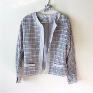 Pendleton Tweed Blazer Faux Pocket Cream